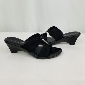 Italian Shoemakers Black Wedge Slides size 8